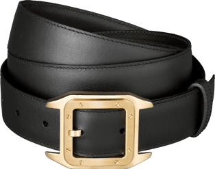 Santos 100 belt Black cowhide, golden-finish buckle