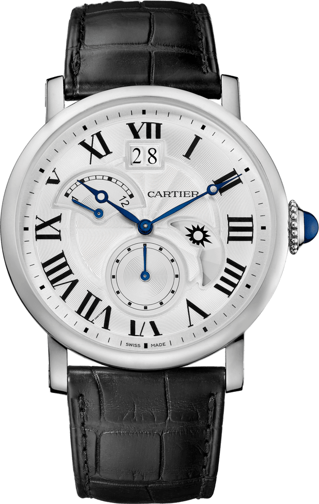 Rotonde de Cartier watch, Large Date, Retrograde Second Time Zone and Day Night Indicator42 mm, steel, leather
