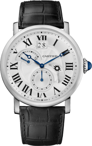 Rotonde de Cartier watch, Large Date, Retrograde Second Time Zone and Day Night Indicator 42 mm, steel, leather