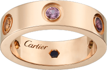 Love ring Pink gold, sapphires, garnets, amethyst