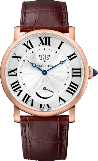 Rotonde de Cartier watch, Calendar Aperture and Power Reserve 40 mm, 18K pink gold, leather