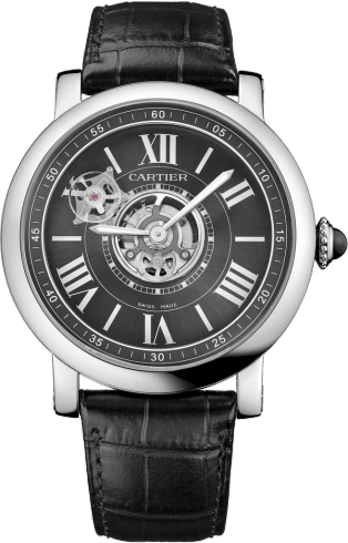Rotonde de Cartier Astrotourbillon Carbon Crystal watch 47 mm, manual, niobium-titanium, leather