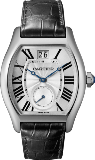 Tortue Large Date, Small Seconds watch XL model, manual, 18K white gold, leather