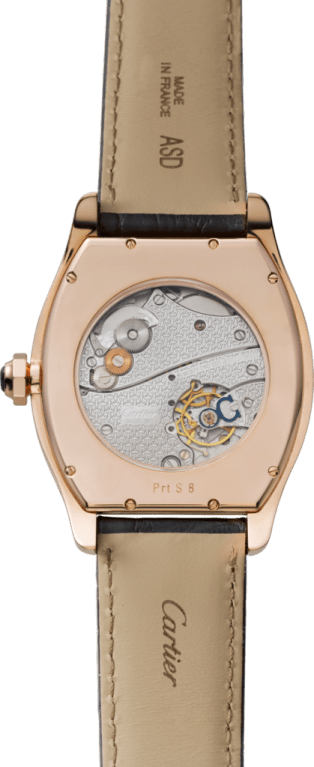 Tortue Large Date, Small Seconds watch XL model, manual, 18K pink gold, leather