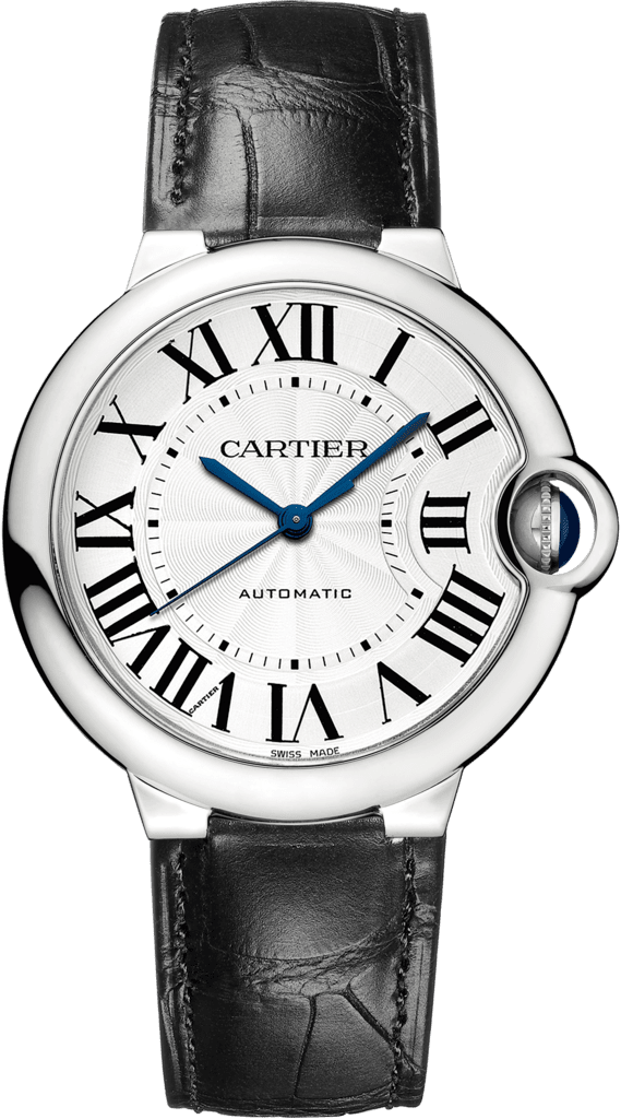 Ballon Bleu de Cartier watch36mm, automatic movement, steel, leather