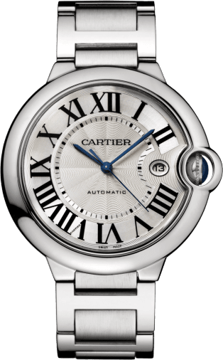 Ballon Bleu de Cartier watch 36mm, automatic movement, steel, leather