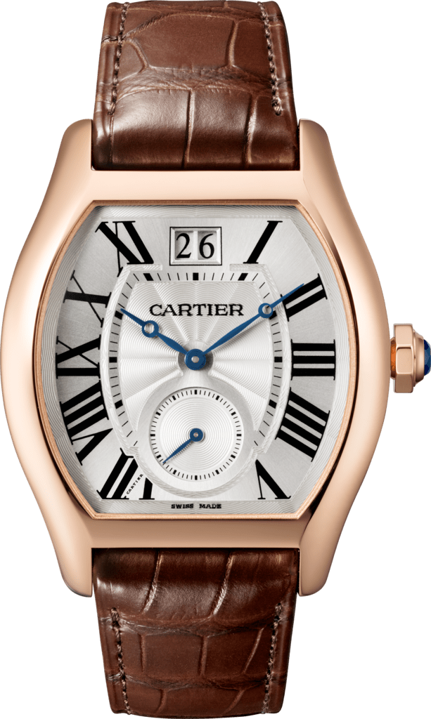 Tortue Large Date, Small Seconds watchXL model, manual, 18K pink gold, leather