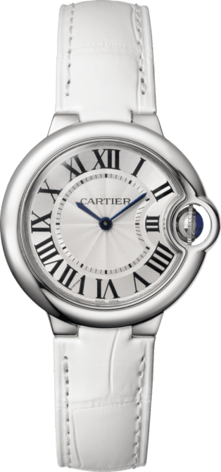 Ballon Bleu de Cartier watch 33 mm, steel, leather