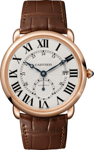 Ronde Louis Cartier watch 40 mm, 18K pink gold, leather
