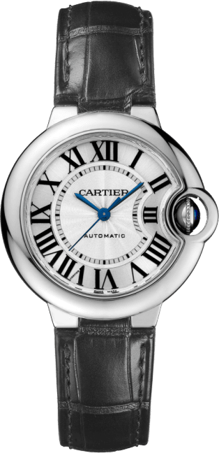 Ballon Bleu de Cartier watch 33mm, automatic movement, steel, leather