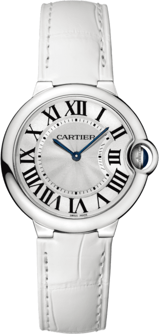 Ballon Bleu de Cartier watch 36mm, quartz movement, steel, leather