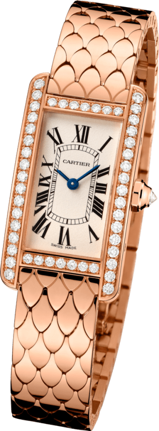 Tank Américaine watch Small model, 18K pink gold, diamonds