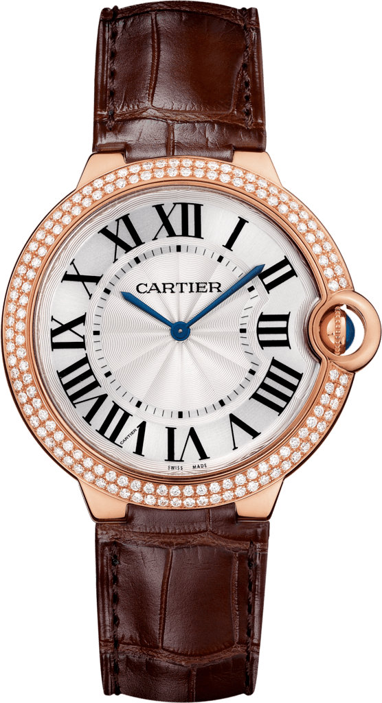 Ballon Bleu de Cartier watch40mm, hand-wound mechanical movement, rose gold, diamonds