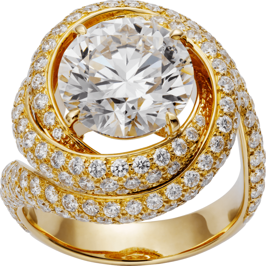 Trinity Ruban SolitaireYellow gold, diamonds