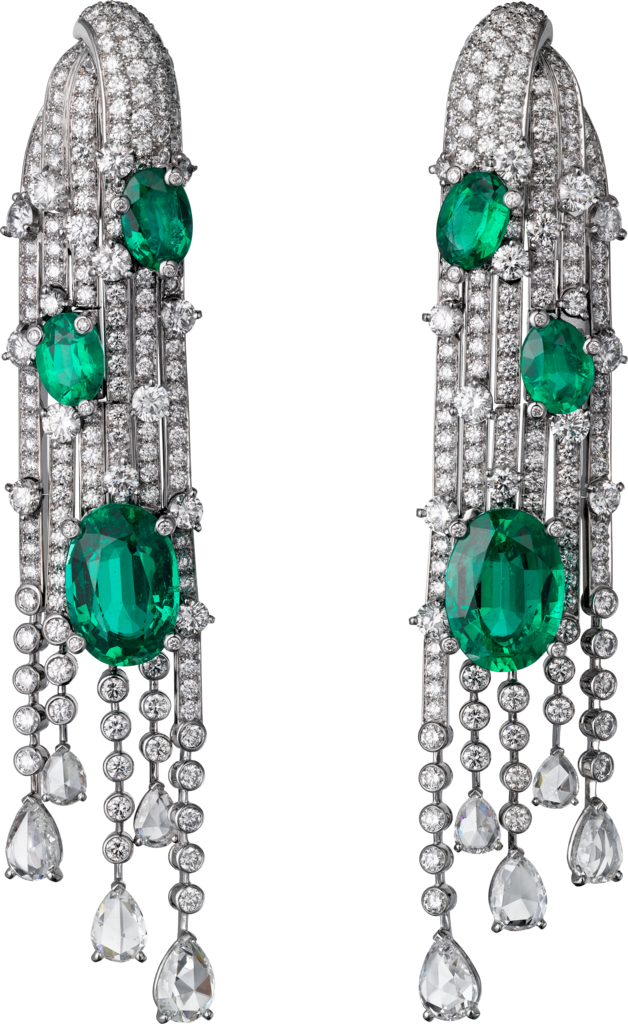 High Jewelry earringsWhite gold, emeralds, diamonds