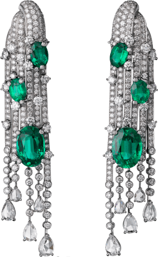 High Jewelry earrings White gold, emeralds, diamonds