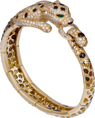 Panthère de Cartier High Jewelry bracelet Yellow gold, enamel, brown jasper, brown diamonds, emeralds, diamonds
