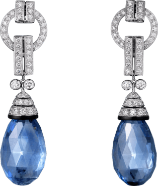 Panthère de Cartier High Jewelry earrings Platinum, sapphires, onyx, diamonds