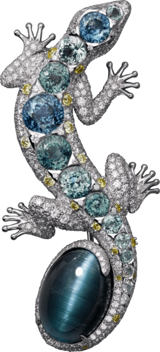 High Jewelry brooch White gold, tourmaline, colored sapphires, diamonds