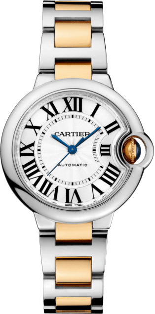 Ballon Bleu de Cartier watch 33 mm, 18K yellow gold, steel