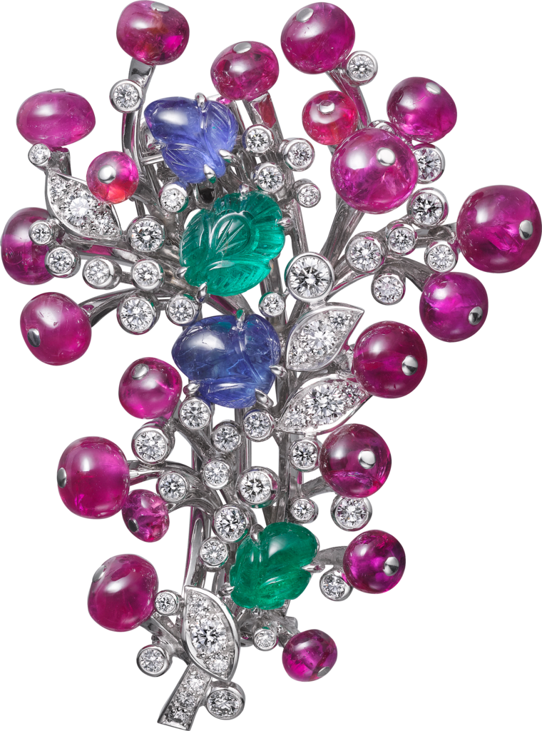 High Jewelry broochPlatinum, sapphires, emeralds, rubies, diamonds