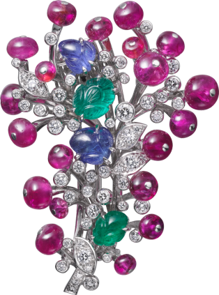 High Jewelry brooch Platinum, sapphires, emeralds, rubies, diamonds