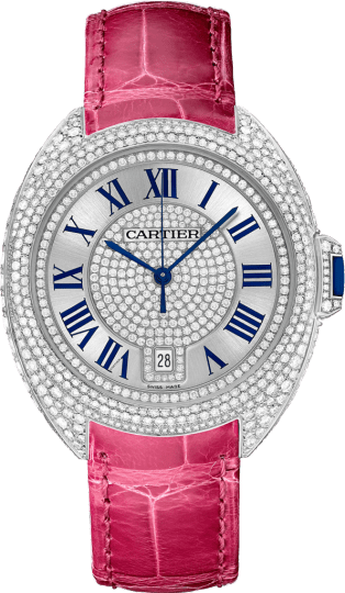Clé de Cartier watch 40 mm, rhodiumized 18K white gold, leather, diamonds