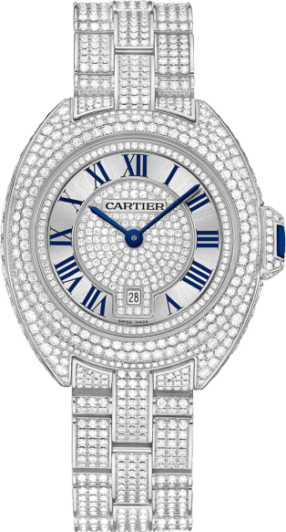 Clé de Cartier watch 31 mm, rhodiumized 18K white gold, diamonds