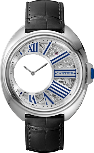 Clé de Cartier Mysterious Hour watch 41 mm, palladium, leather