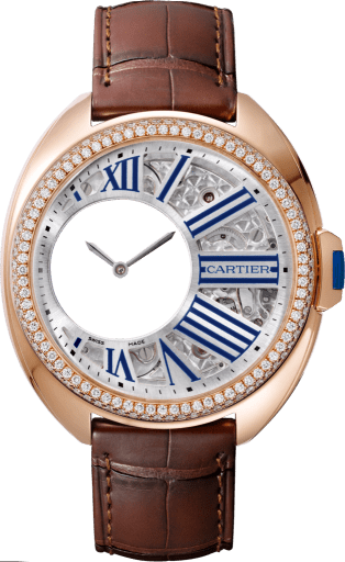 Clé de Cartier Mysterious Hour watch 41 mm, manual, 18K pink gold, diamonds