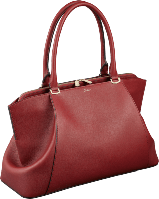 C de Cartier bag, medium model Red spinel-colored taurillon leather, golden finish