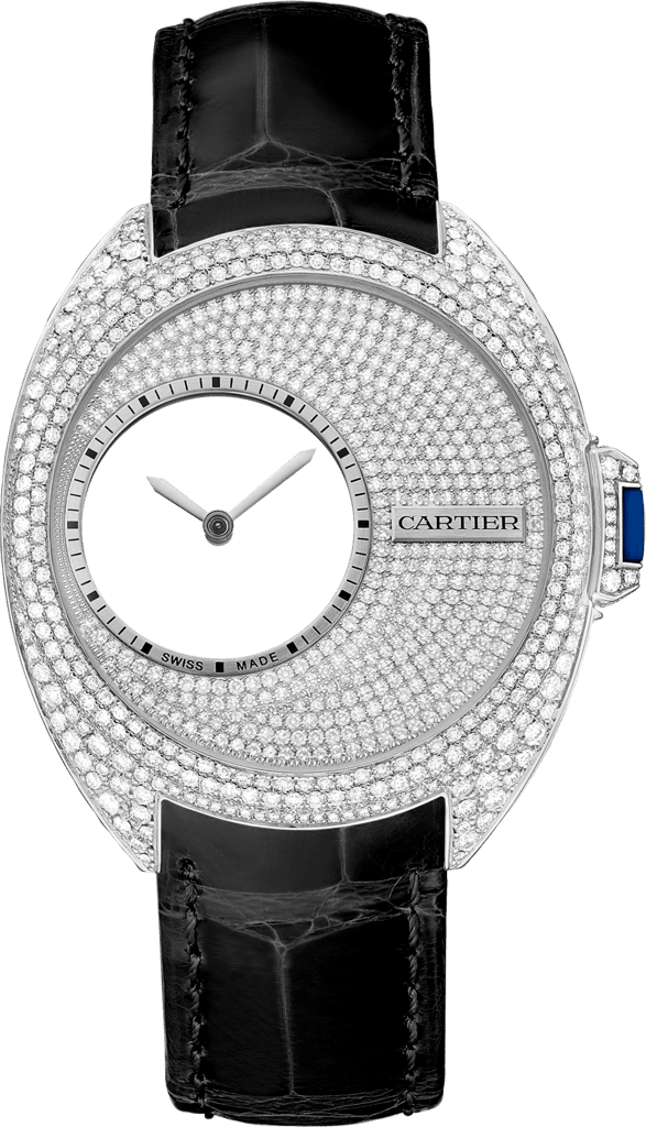 Clé de Cartier Mysterious Hour watch41 mm, manual, palladium, diamonds