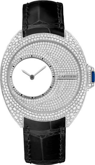 Clé de Cartier Mysterious Hour watch 41 mm, manual, palladium, diamonds