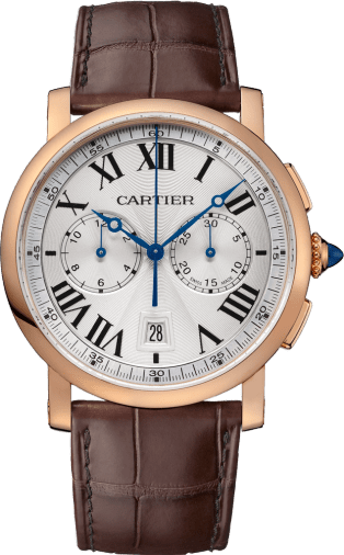 Rotonde de Cartier Chronograph watch 40 mm, 18K pink gold, leather
