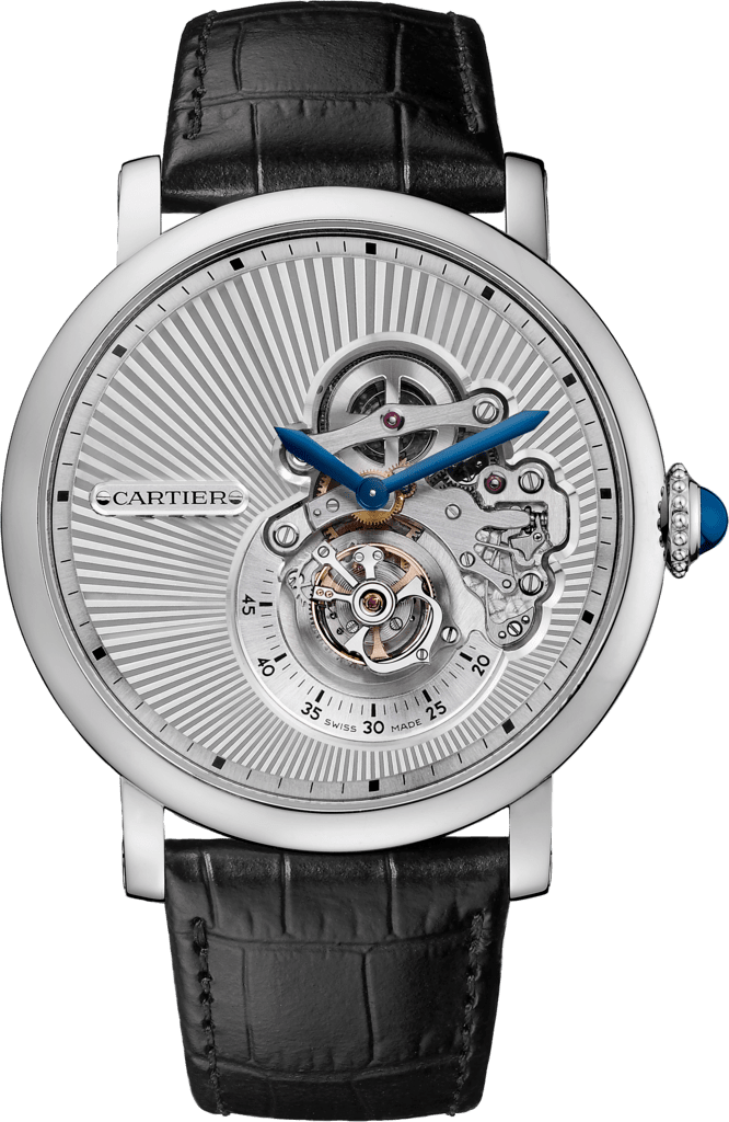 Rotonde de Cartier Flying Tourbillon Reversed Dial watch46 mm, manual, 18K white gold, leather
