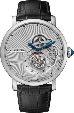 Rotonde de Cartier Flying Tourbillon Reversed Dial watch 46 mm, manual, white gold, leather