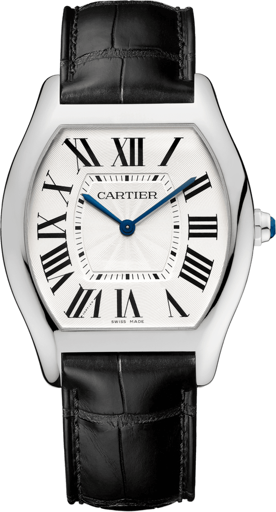 Tortue watchLarge model, 18K white gold, leather