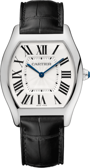 Tortue watch Large model, 18K white gold, leather