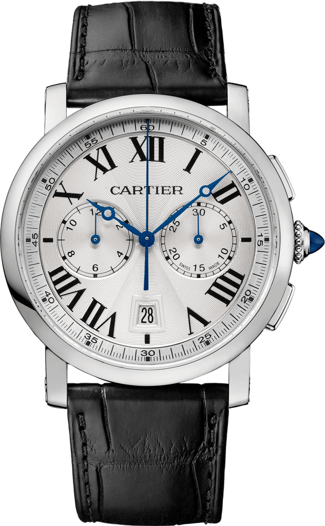 Rotonde de Cartier Chronograph watch40 mm, steel, leather