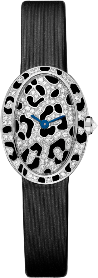 Mini Baignoire panther spots watch Mini model, quartz movement, white gold, diamonds, enamel, canvas