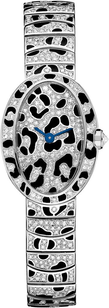 Mini Baignoire panther spots watchMini model, quartz movement, white gold, diamonds, enamel