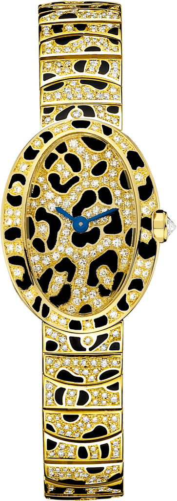 Mini Baignoire panther spots watchMini, 18K yellow gold, enamel, diamonds