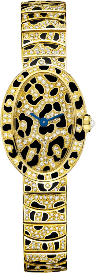 Mini Baignoire panther spots watch Mini, 18K yellow gold, enamel, diamonds
