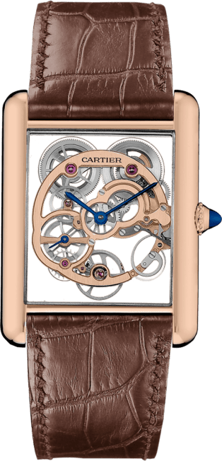 Tank Louis Cartier Skeleton Sapphire watch XL, manual, pink gold, leather