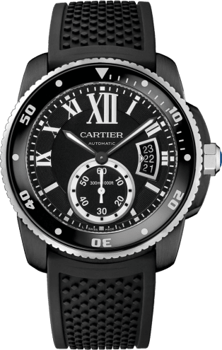 Calibre de Cartier Carbon Diver watch 42 mm, steel, ADLC, rubber