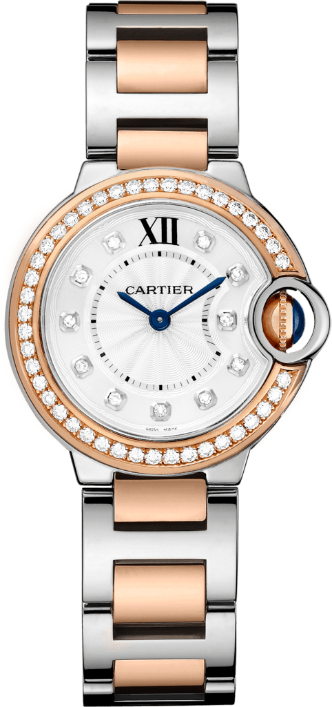 Ballon Bleu de Cartier watch28mm, quartz movement, pink gold, steel, diamonds