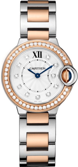 Ballon Bleu de Cartier watch 28 mm, 18K pink gold, steel, diamonds