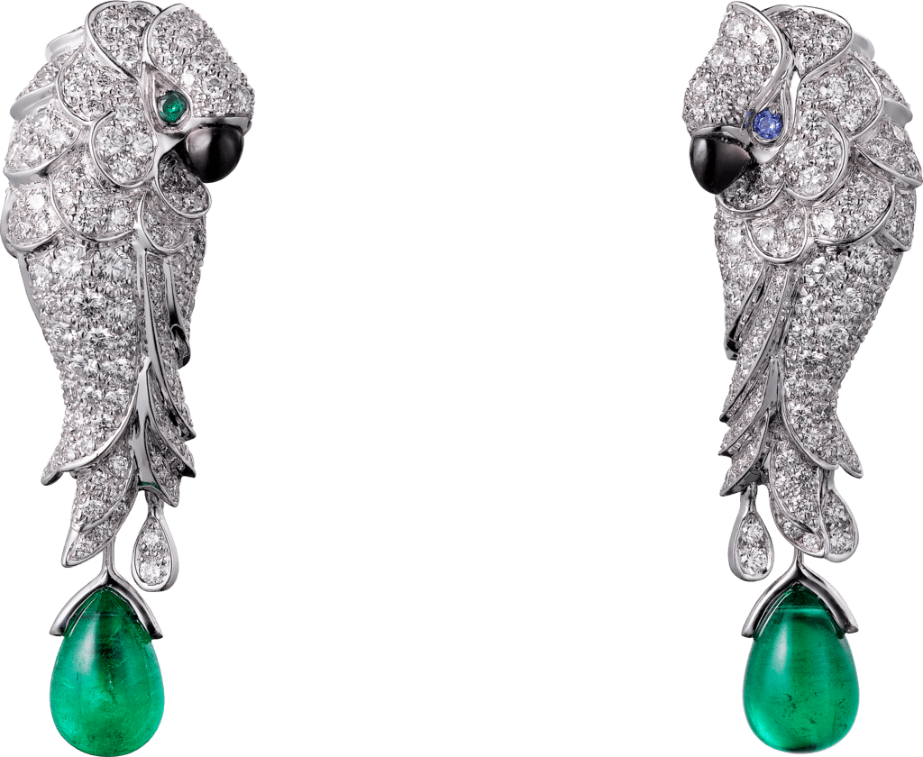 Les Oiseaux Libérés earringsWhite gold, emeralds, sapphires, mother-of-pearl, diamonds
