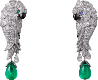 Les Oiseaux Libérés earrings White gold, emeralds, sapphires, mother-of-pearl, diamonds