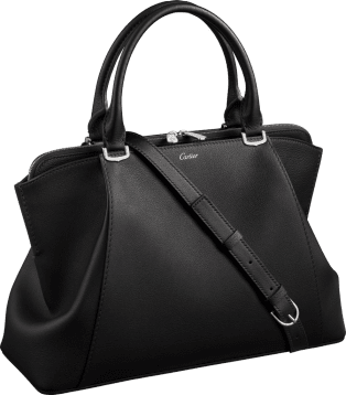 C de Cartier bag, small model Onyx taurillon leather, palladium finish
